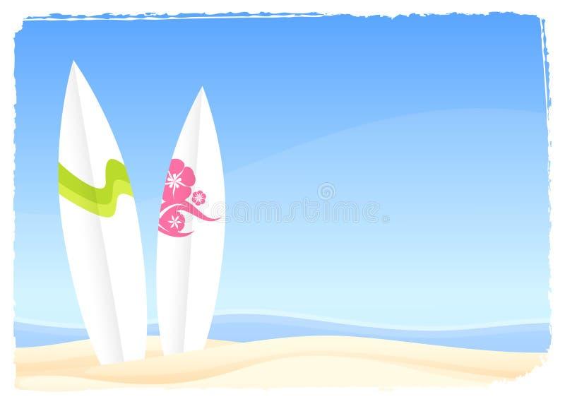 Ljus sommarstrandplats med surfingbrädor royaltyfri illustrationer
