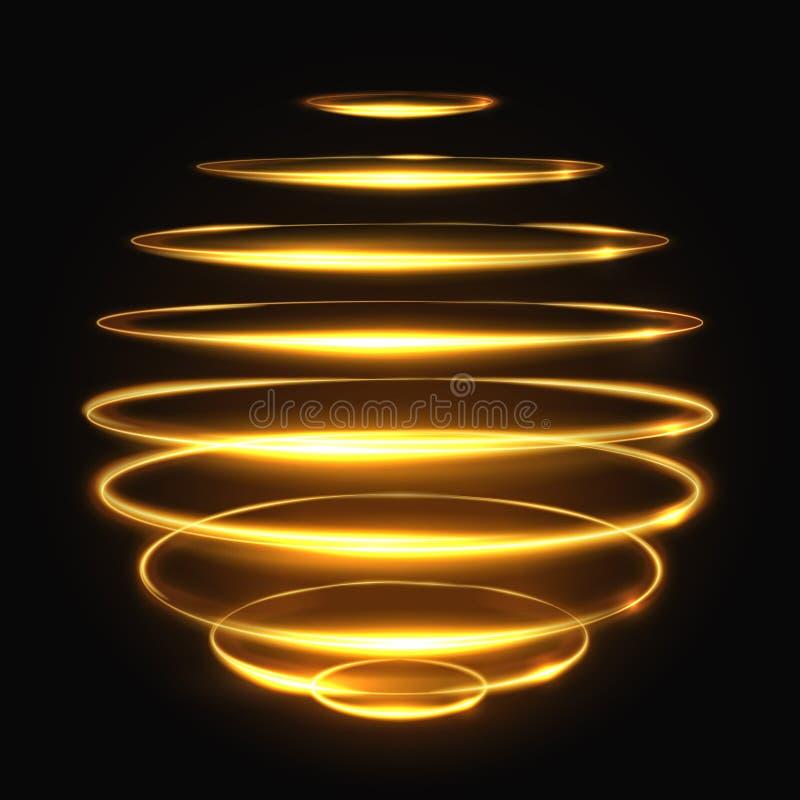 Ljus spåringseffekt för guld- cirkel, glödande magisk vektorillustration för sfär 3d vektor illustrationer