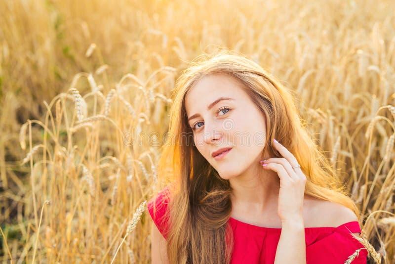 Ljus stående av den lyckliga unga kvinnan på sommarfältet arkivfoton