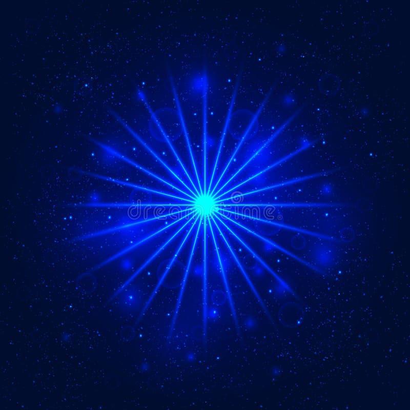 Ljus stjärna, utrymmeillustration, virvelslingaeffekt, vektor stock illustrationer