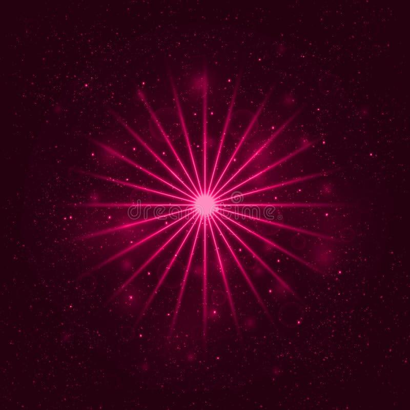 Ljus stjärna, utrymmeillustration, virvelslingaeffekt, vektor vektor illustrationer