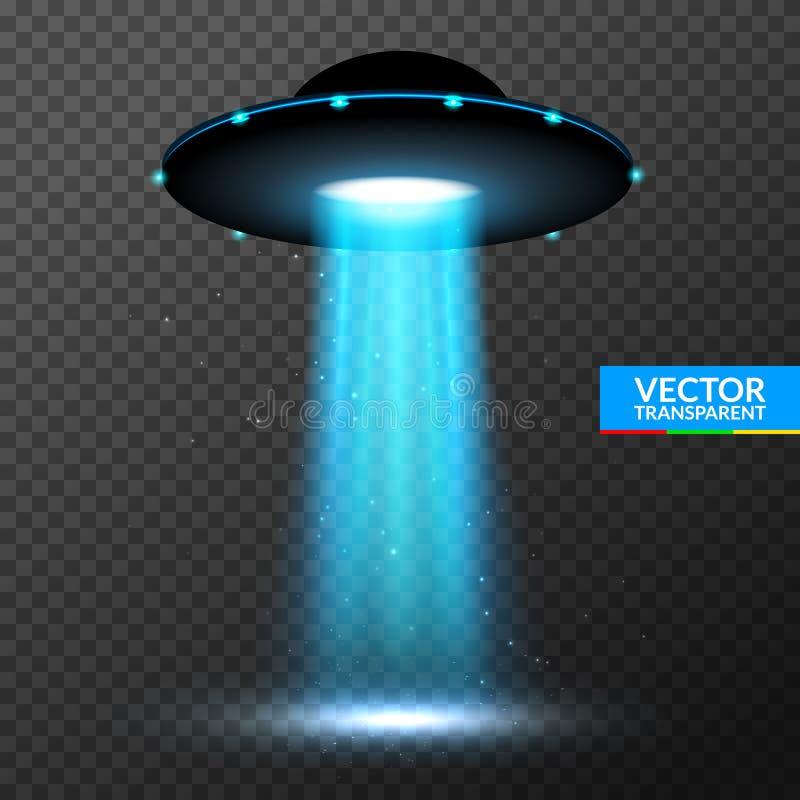 Ljus stråle för ufo Futuristiskt ljust ljus för främmande transport i mörker royaltyfri illustrationer