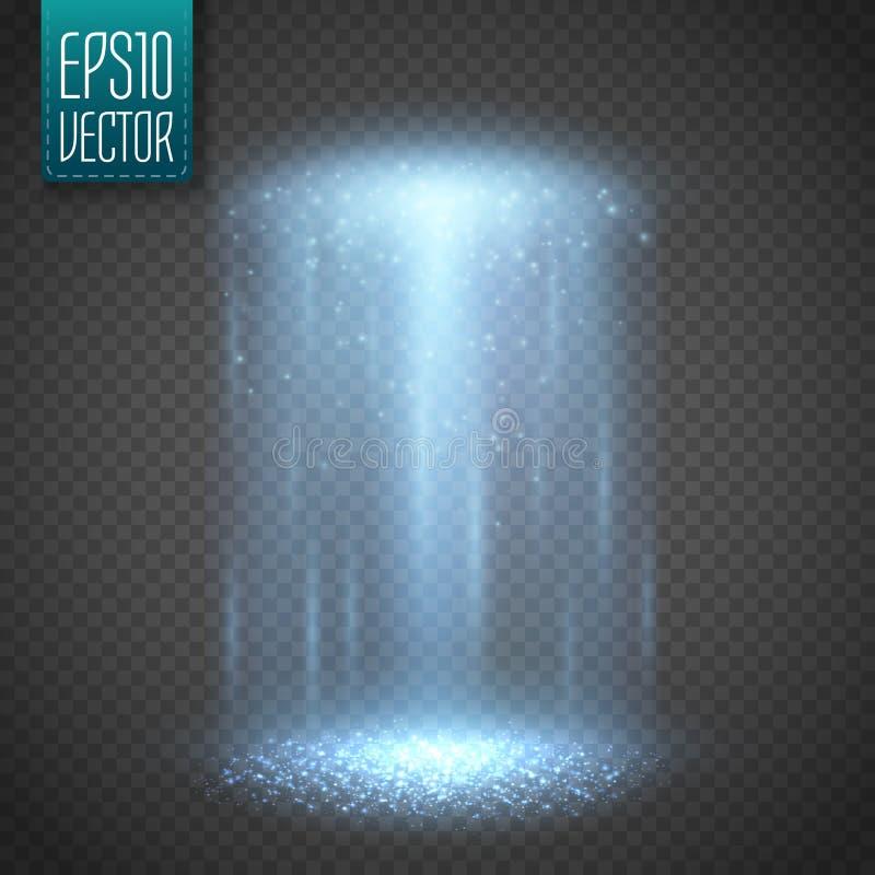 Ljus stråle för ufo på transparntbakgrund vektor royaltyfri illustrationer