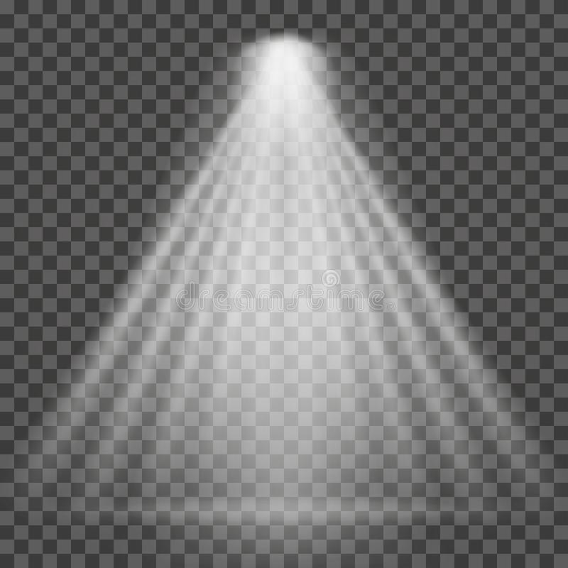 Ljus stråle på genomskinlig bakgrund Ljus stråle för ljus strålkastare för strålkastare, platsbelysning stock illustrationer