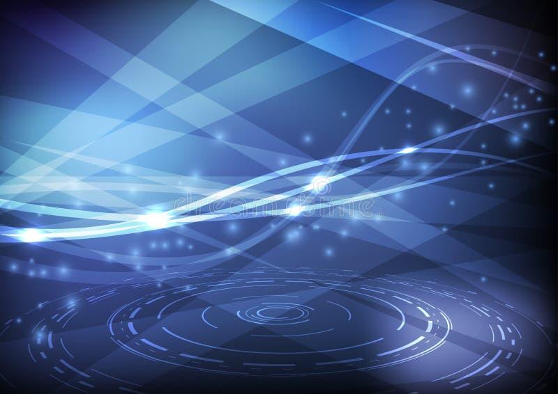 Ljus swoosh på högteknologisk bakgrund royaltyfri illustrationer