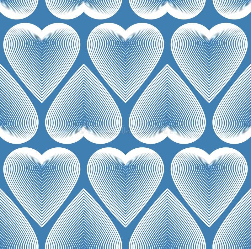 Ljus symmetrisk sömlös modell med dekorativa hjärtor, konstlodisar stock illustrationer