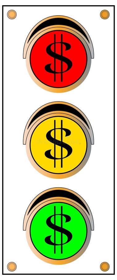 ljus teckentrafik för dollar stock illustrationer