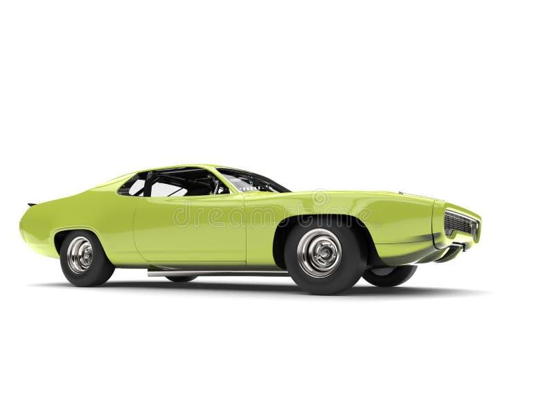 Ljus tokig grön tappningracerbil - skönhetskott för låg vinkel stock illustrationer