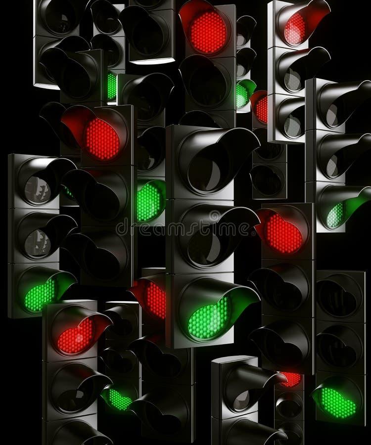 ljus trafik för kaos stock illustrationer