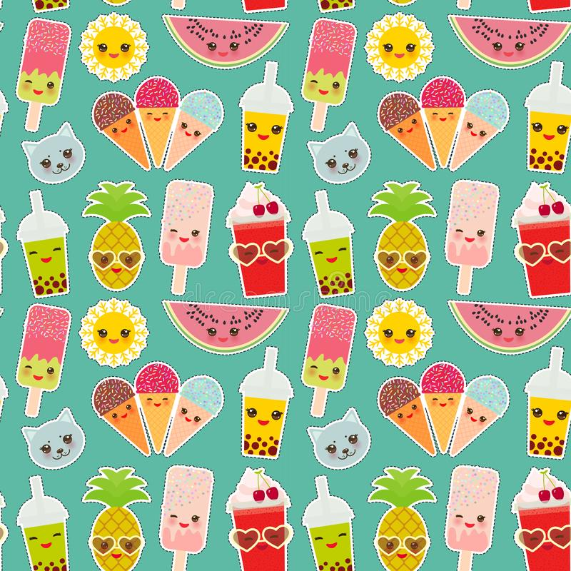 Ljus tropisk sömlös modell för Hello sommar, klistermärkear för modelappemblem bubblate, ananas, körsbärsröd smoothiekopp, is stock illustrationer