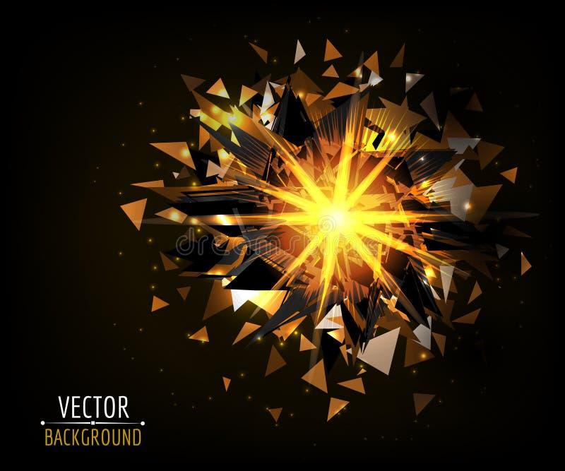Ljus tryckvåg i mörker abstrakt bakgrundsvektor vektor illustrationer