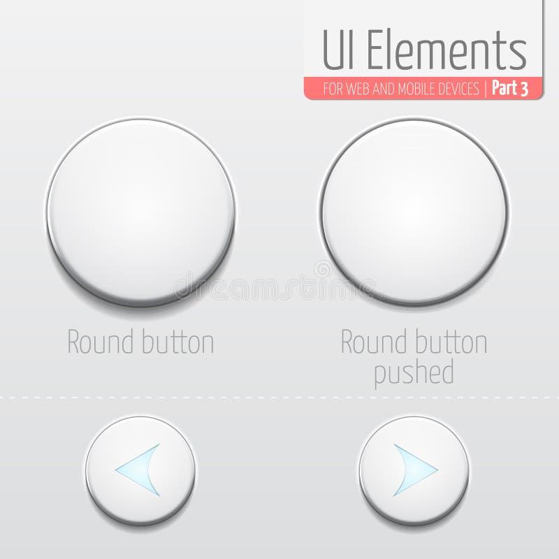 Ljus UI-beståndsdeldel 3: Rund knapp UI-uppsättning I standard och skjutet tillstånd Rundaknappar med glödande pilar stock illustrationer
