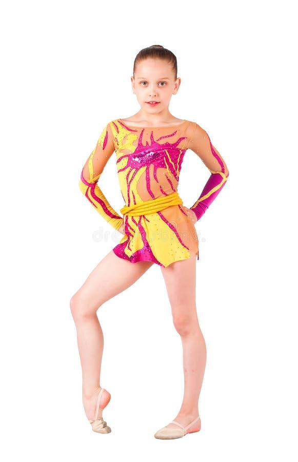 ljus ung gymnaststrumpbyxor fotografering för bildbyråer