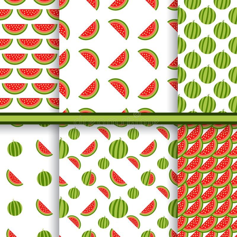 Ljus uppsättning av sömlösa modeller med vattenmelon vektor illustrationer