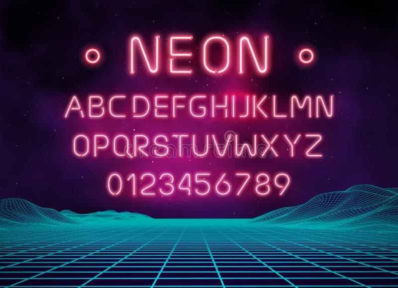 Ljus uppsättning för neonstilsortsbokstav Typ för stångteckenvektor Glödande rött textalfabet för kasino och för bio på bakgrund  stock illustrationer