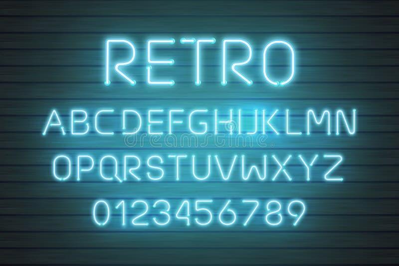 Ljus uppsättning för neonstilsortsbokstav Typ för stångteckenvektor Glödande rött textalfabet för kasino och för bio på den wood  royaltyfri illustrationer