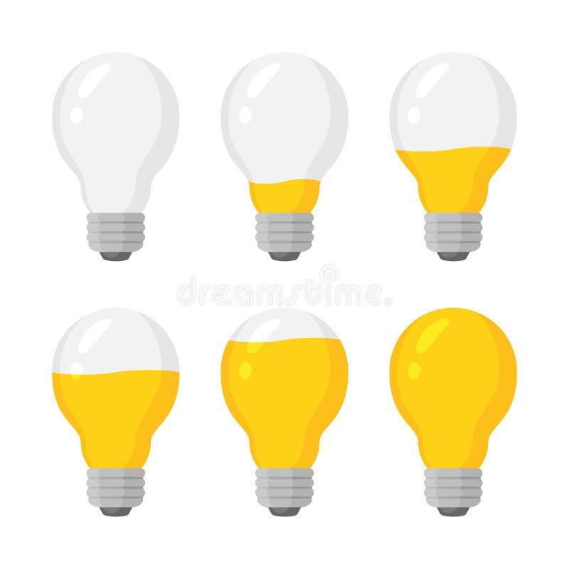 Ljus uppsättning för vektor för maktkulaindikator, nivå för energiladdning stock illustrationer