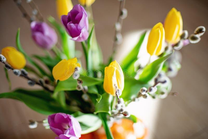 Ljus vårbukett av gula och purpurfärgade tulpan och filialpussypilar Påskordning av nya blommor royaltyfri bild