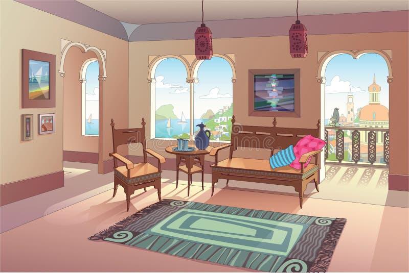 Ljus vardagsrum i orientalisk stil stock illustrationer