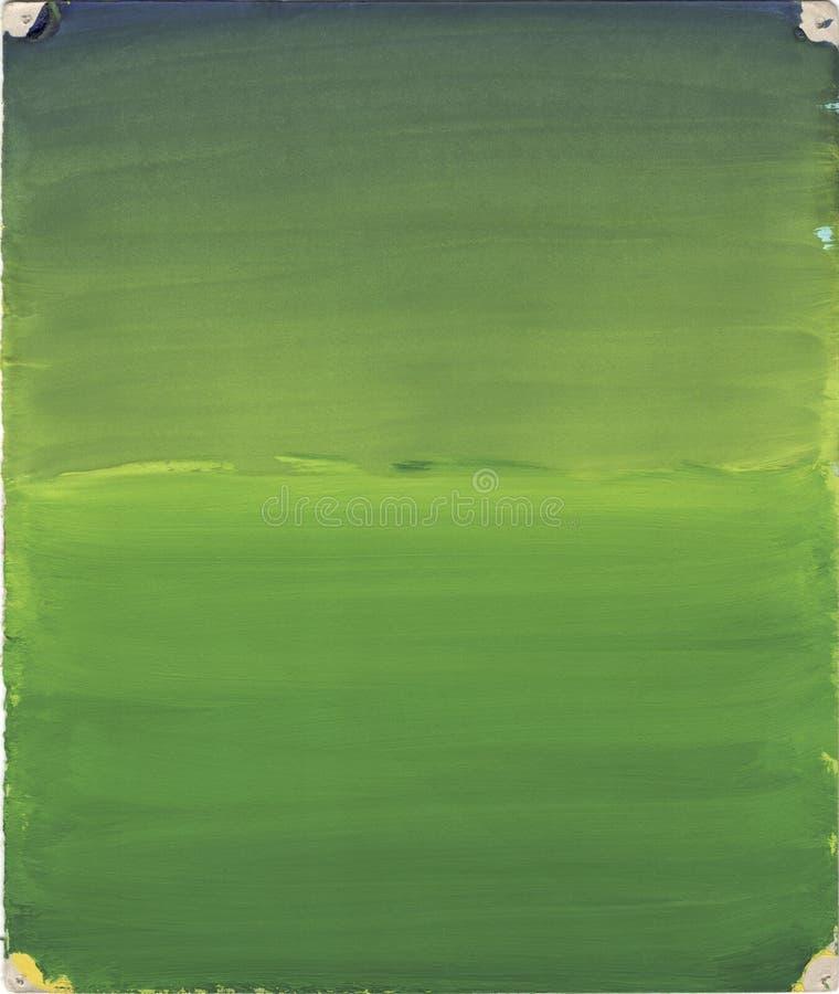 Ljus vattenfärgbakgrund Blått-, gräsplan- och gulingpigment Fin abstrakt målning arkivbilder
