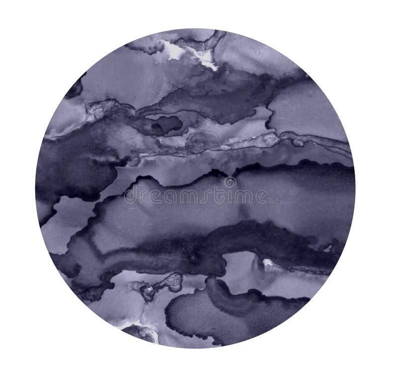 Ljus vattenfärgfläck Målad grå färgcirkelbakgrund Abstrakt textur som isoleras på vit Tryckbar garnering stock illustrationer