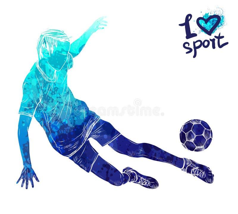 Ljus vattenfärgkontur av fotbollspelaren med bollen Utrustning för skydd av spelaren Grafiskt diagram av idrottsman nen vektor illustrationer