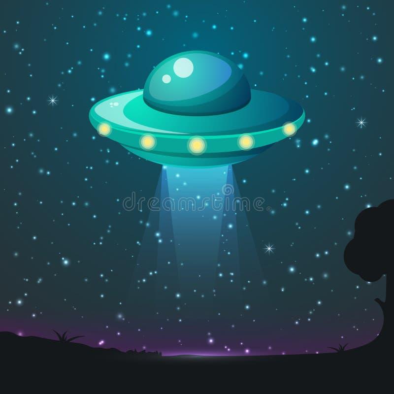 Ljus vektor för ufo Främmande himmelstrålar Ufo-rymdskepp med strålen, illustration för tefatufo-flyg stock illustrationer