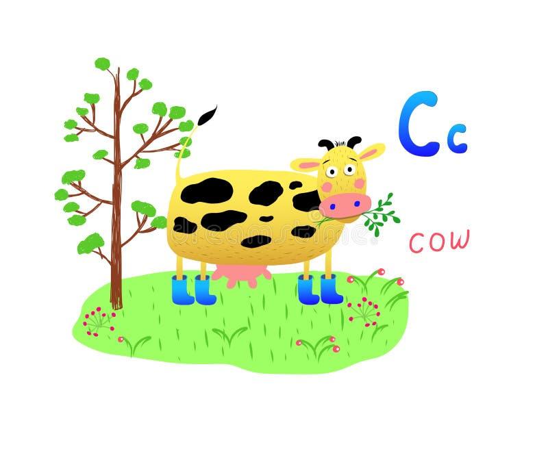 Ljus vektorillustration med kon som mejar gräs-, träd- och för bokstav C alfabet C, affisch, baner, logo, hälsningkort, tecknad f stock illustrationer