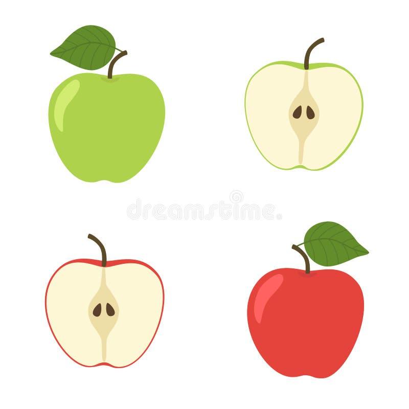 Ljus vektoruppsättning av den färgrika halvan och helt av det saftiga äpplet Nya tecknad filmäpplen på vit bakgrund royaltyfri illustrationer