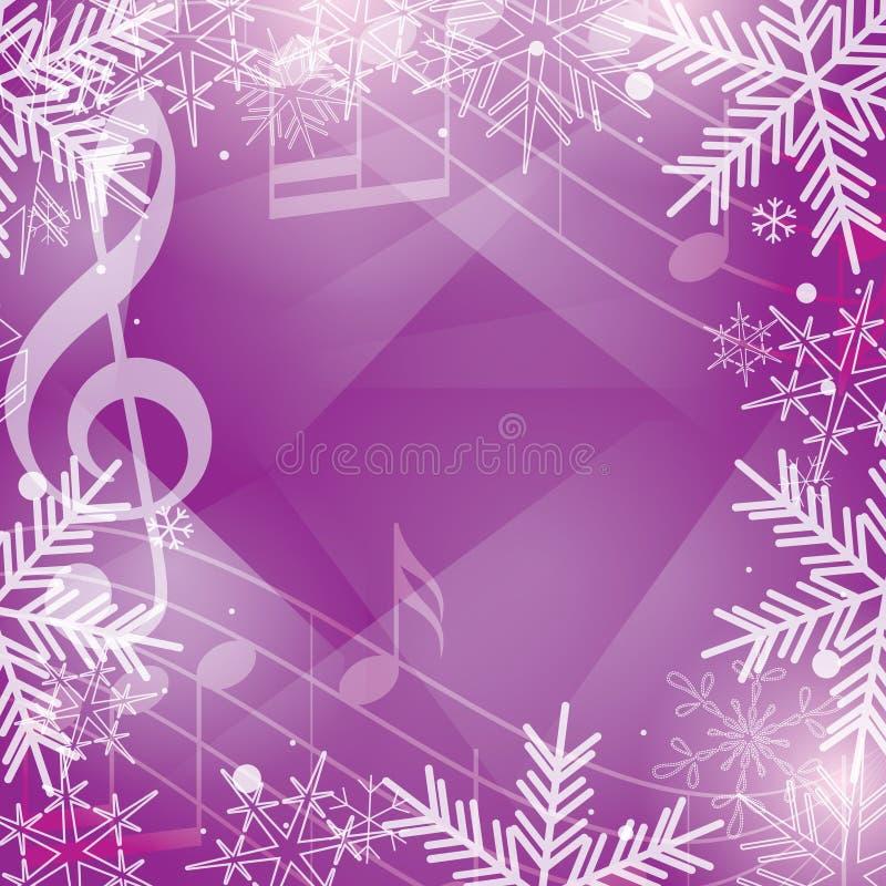 Ljus violett vektorbakgrund med musikanmärkningar och snöflingor vektor illustrationer
