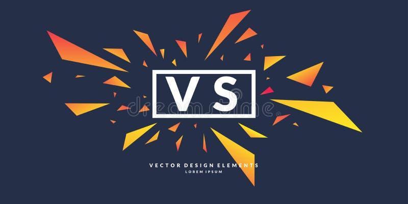 Ljusa affischsymboler av konfrontation VS, kan vara den samma logoen också vektor för coreldrawillustration vektor illustrationer