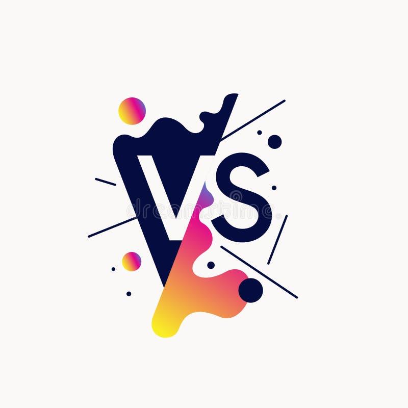 Ljusa affischsymboler av konfrontation VS, kan vara det samma emblemet stock illustrationer