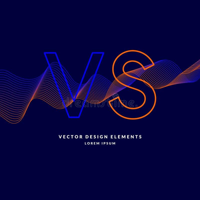 Ljusa affischsymboler av konfrontation VS Vektorillustration på mörk bakgrund vektor illustrationer