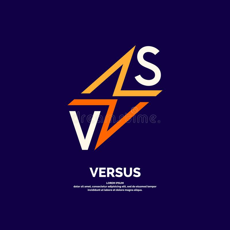 Ljusa affischsymboler av konfrontation VS Vektorillustration p? m?rk bakgrund royaltyfri illustrationer
