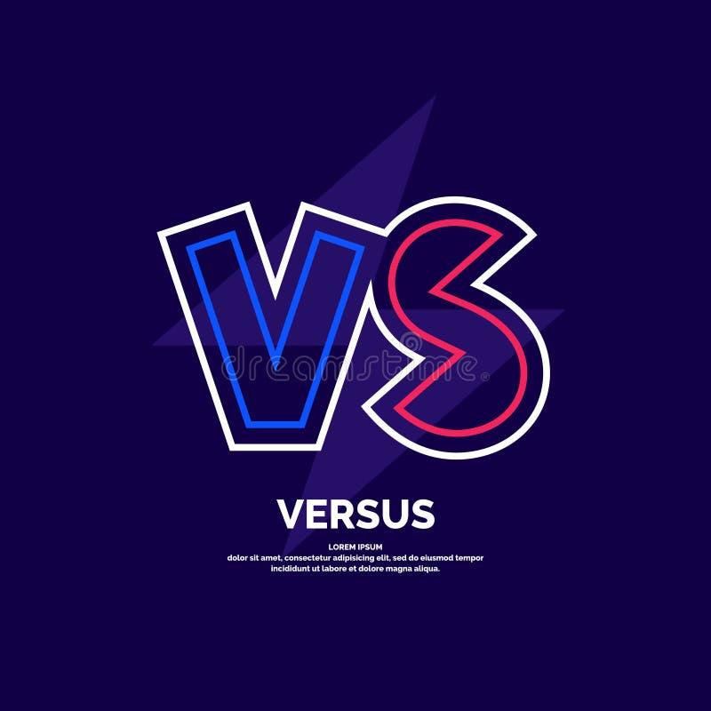 Ljusa affischsymboler av konfrontation VS Vektorillustration p? m?rk bakgrund vektor illustrationer