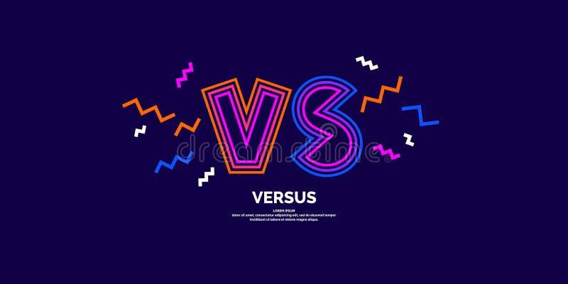 Ljusa affischsymboler av konfrontation VS Vektorillustration p? m?rk bakgrund stock illustrationer