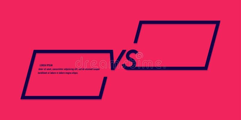 Ljusa affischsymboler av konfrontation VS Vektorillustration p? r?d bakgrund stock illustrationer