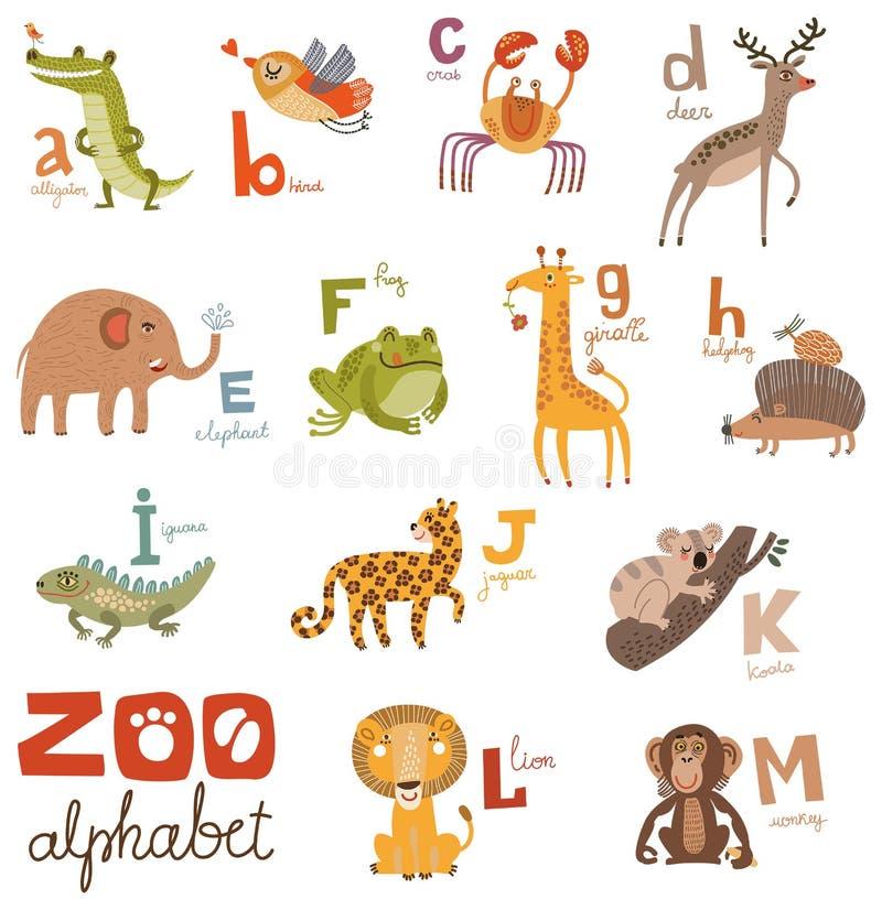 Ljusa alfabetuppsättningbokstäver med gulliga djur vektor illustrationer
