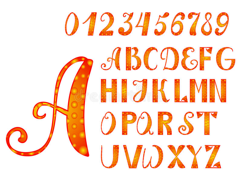 Ljusa apelsin-guling alfabet och nummer vektor illustrationer