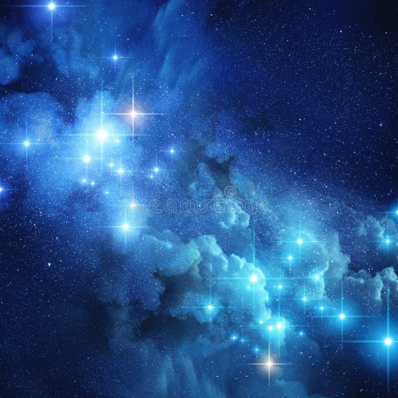 Ljusa avlägsna stjärnor royaltyfri illustrationer