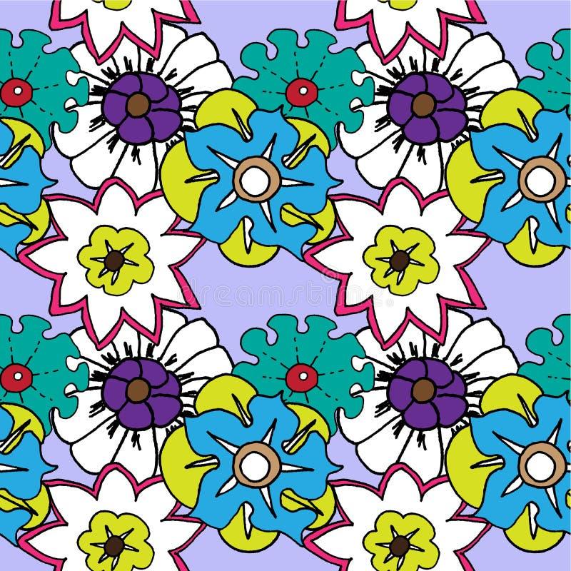 ljusa blommor mönsan seamless stock illustrationer