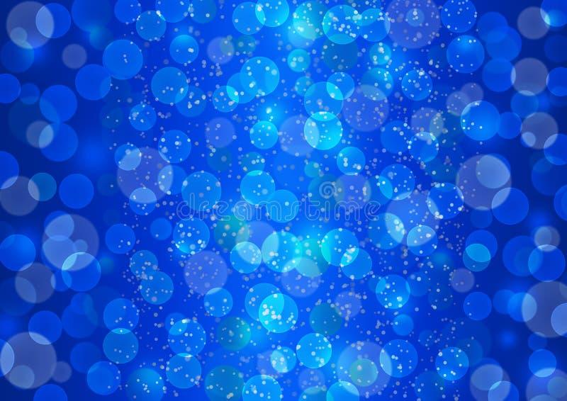 Ljusa Bokeh ljus och att blänka mousserar i blå bakgrund arkivfoto