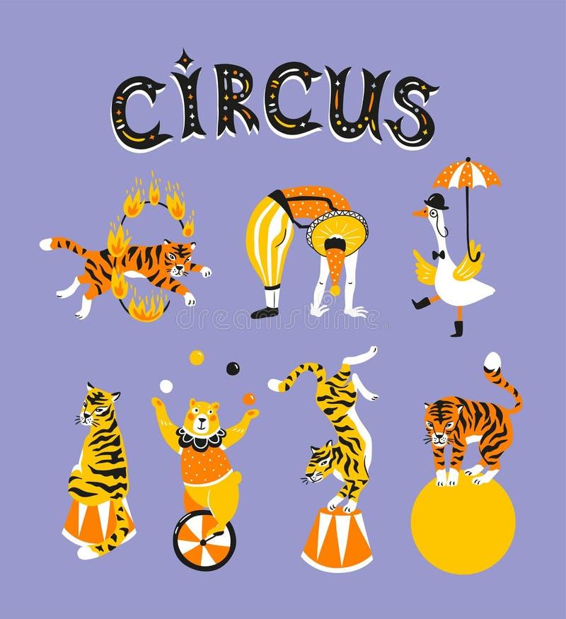 Ljusa cirkusdesignbeståndsdelar - akrobater, utbildade djur och text - `-cirkus`, också vektor för coreldrawillustration royaltyfri illustrationer