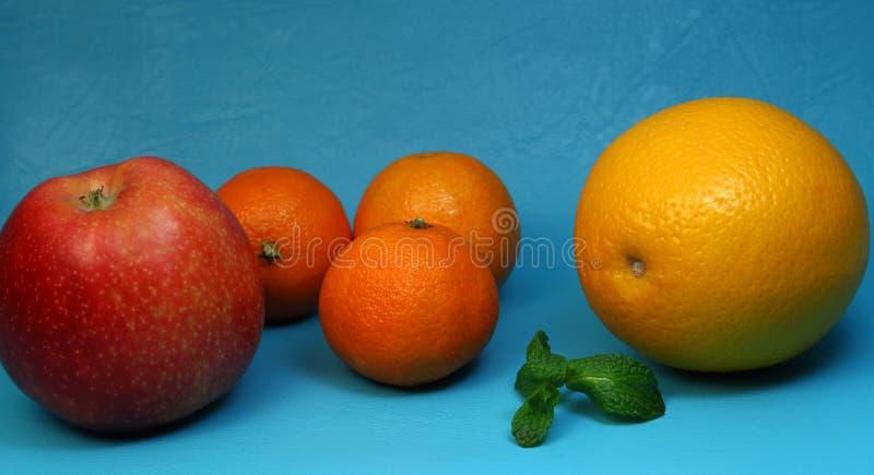 Ljusa citrusfrukter på en blå bakgrund arkivfoton