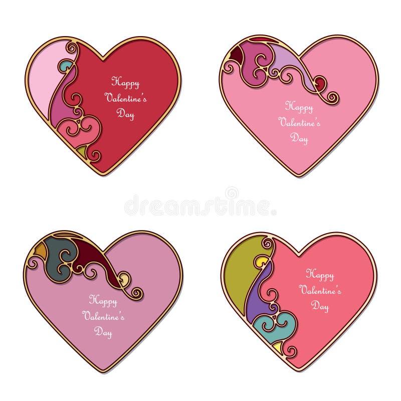 Ljusa dekorativa hjärtor med stället för text Valentine& x27; uppsättning för s-dagmallar som isoleras på vit vektor illustrationer
