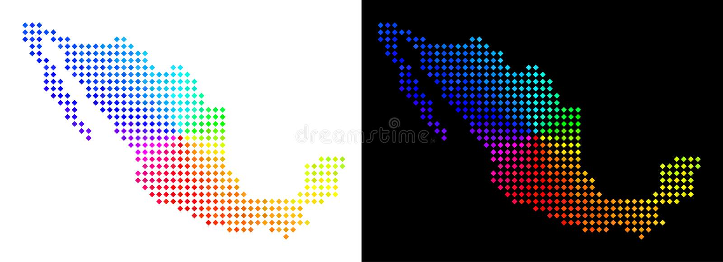 Ljusa Dot Mexico Map stock illustrationer