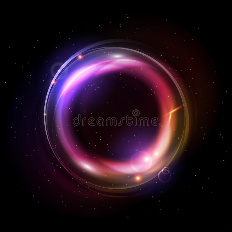 Ljusa effekter av glödande cirklar Magisk utrymmeillustration för vektor vektor illustrationer