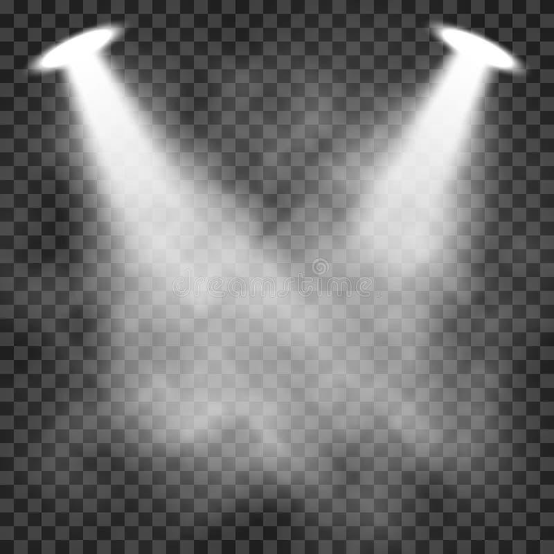 Ljusa effekter för platsbelysning på en genomskinlig mörk bakgrund, ljus belysning med strålkastare royaltyfri illustrationer