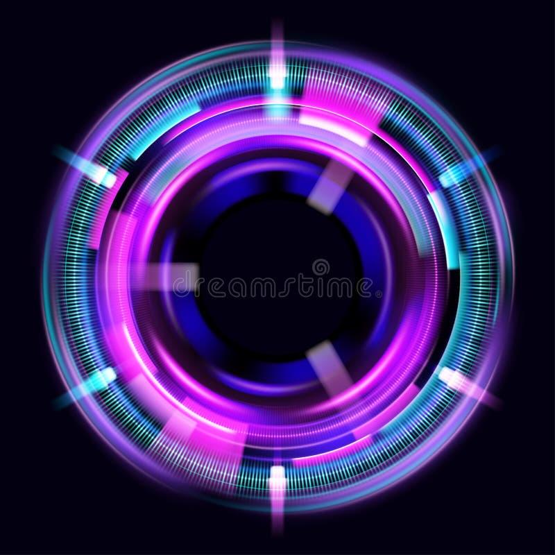 Ljusa effekter f?r magisk cirkel Illustration som isoleras p? m?rk bakgrund Mystisk portal Ljus sf?rlins rotera royaltyfri illustrationer