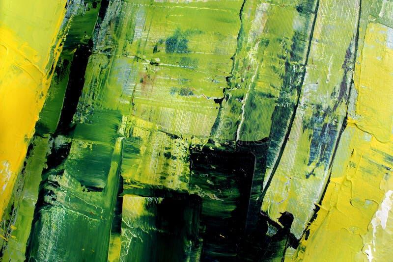 Ljusa färger för vår på kanfas flod för målning för skogliggandeolja abstrakt konstbakgrund Oljemålning på kanfas Färgtextur Frag royaltyfri illustrationer
